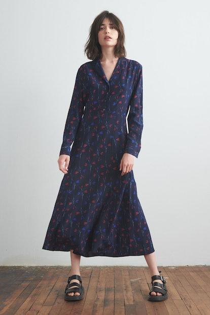 Silk Shirt Dress Navy Print