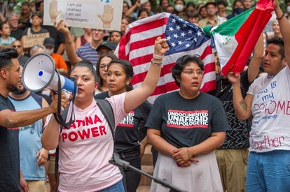At a 2017 rally, one activist wears a T-shirt reading 'Undocumented and Unafraid.'