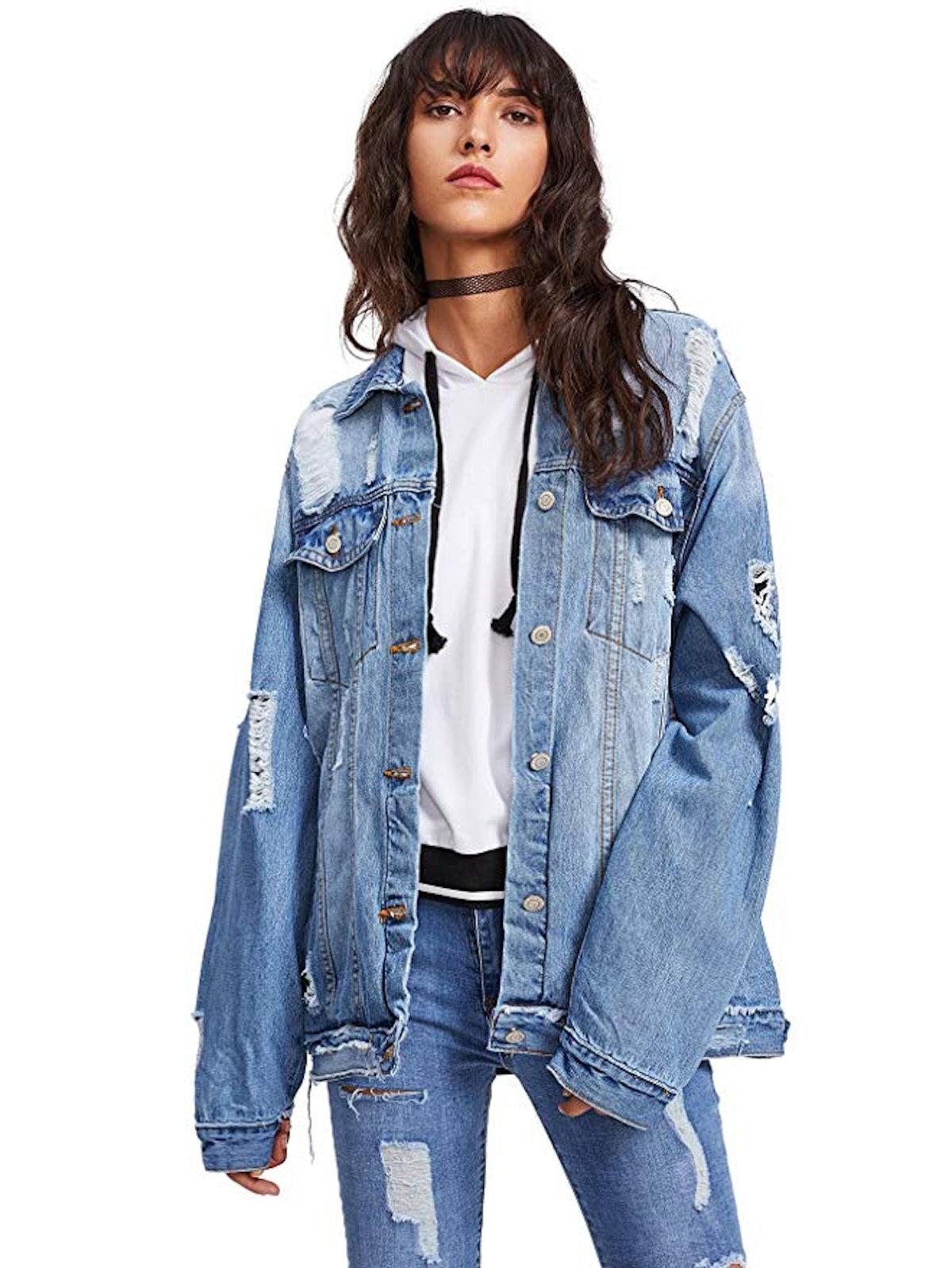 Floerns Women's Ripped Long Sleeve Denim Jacket