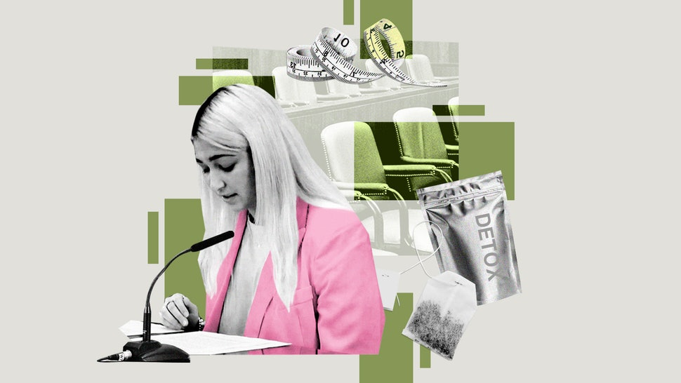 An illustration of the author, testifying on the impact detox teas had on her digestive system