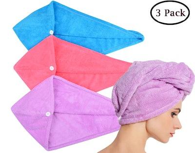 HOPESHINE Microfiber Fast Hair Drying Towel (3-Pack)