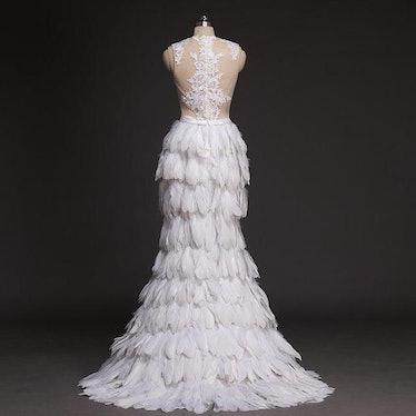 FEATHER ORGANZA FULL RUFFLES WEDDING DRESS