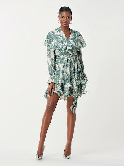 Simone Metallic Silk Mini Wrap Dress