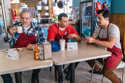 Pop, Erik, and Chris brainstorm how to save Mama Fina's in Gentefied.