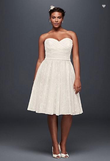 Strapless Lace Plus Size Short Wedding Dress