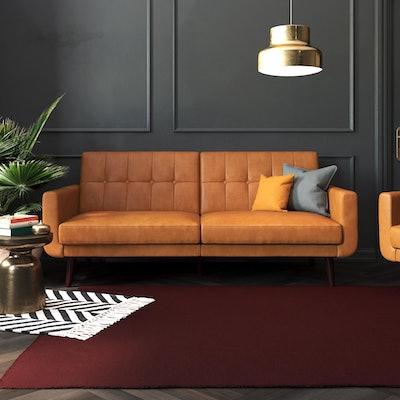 Better Homes & Gardens Nola Modern Futon, Camel Faux Leather