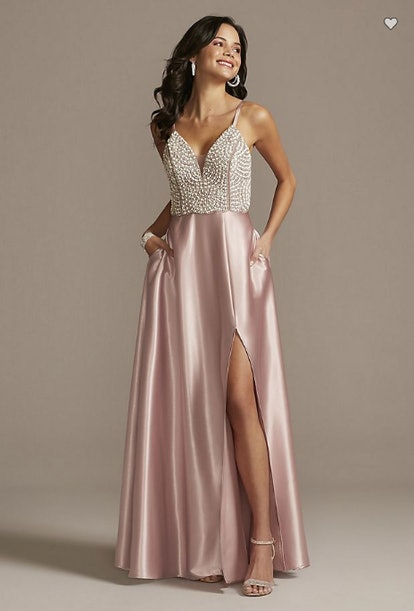 Plunging-V Beaded Bodice Satin Gown with Slit