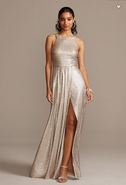 Metallic Crinkle High Neck Dress with Slit