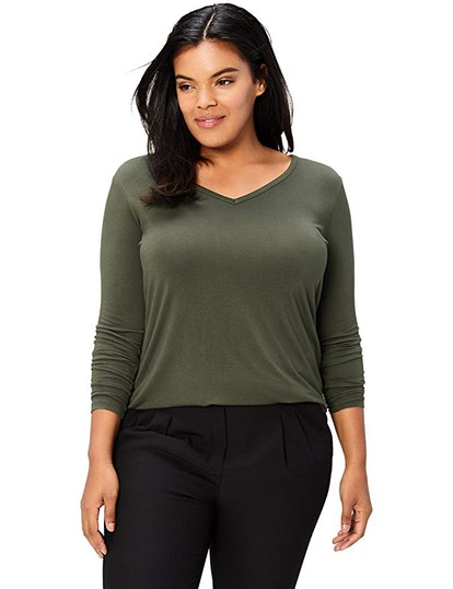 Amazon Brand - Daily Ritual Women's Long-Sleeve V-Neck T-Shirt