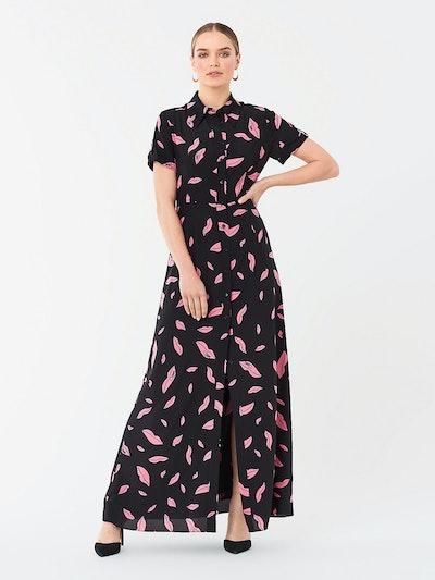 Georgia Silk Crepe De Chine Maxi Shirt Dress - Falling Lips Black