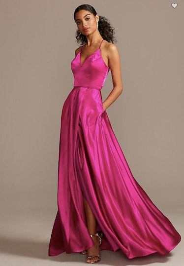 Charmeuse Spaghetti Strap Gown with Lace-Up Back
