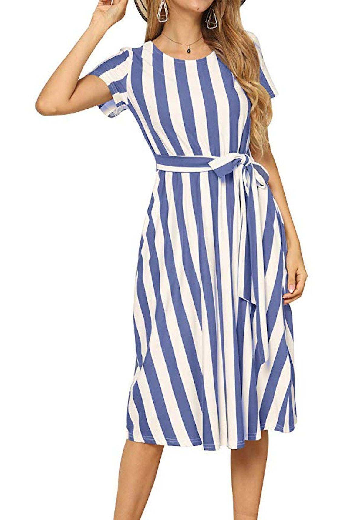 levaca Women's Short Sleeve Belt Dress with Pockets