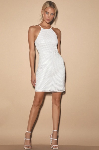 Ace of Spades White Sequin Bodycon Dress