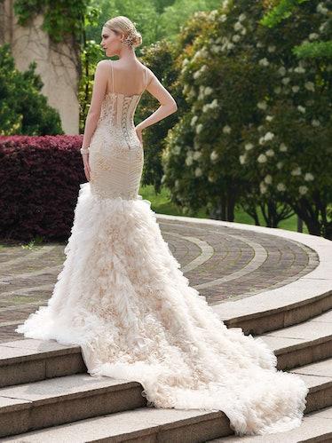 Church Cascading Ruffles Spaghetti Straps Wedding Dress