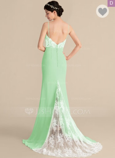 Trumpet/Mermaid Sweetheart Sweep Train Chiffon Lace Dress