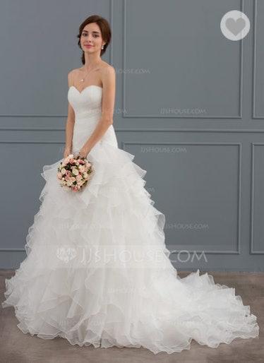 Trumpet/Mermaid Sweetheart Court Train Organza Wedding Dress With Cascading Ruffles