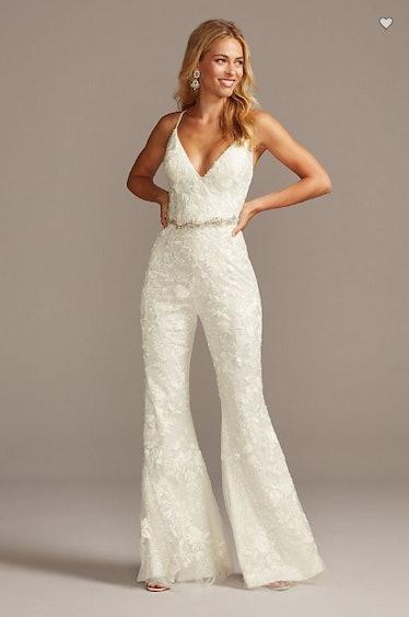 Floral Overlay Flare Leg Sequin Wedding Jumpsuit