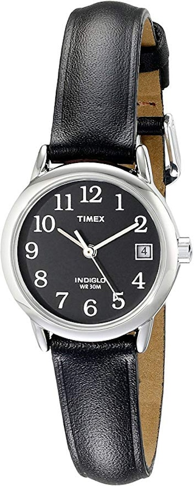 Timex Leather Strap Watch with Date Feature