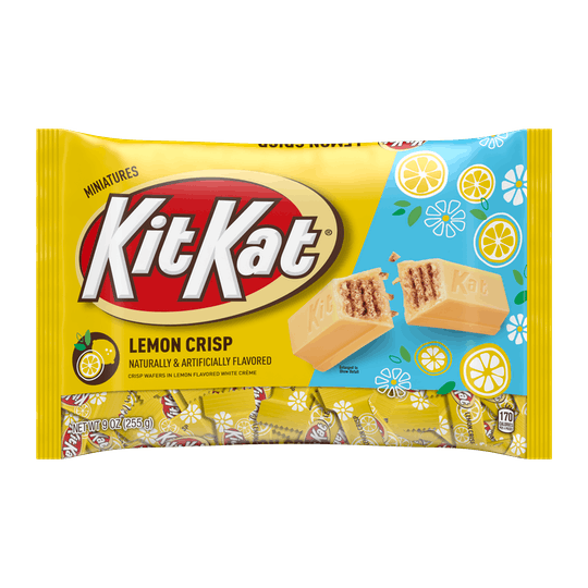 An image of a yellow bag of Kit Kats with lemon flavor.