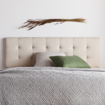 Rest Haven Upholstered Diamond Tufted Mid Rise Headboard, Queen
