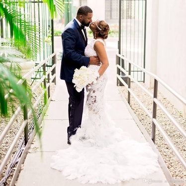 Sexy Feather Mermaid Wedding Dress Sheer Neckline Bodice Sweep Train