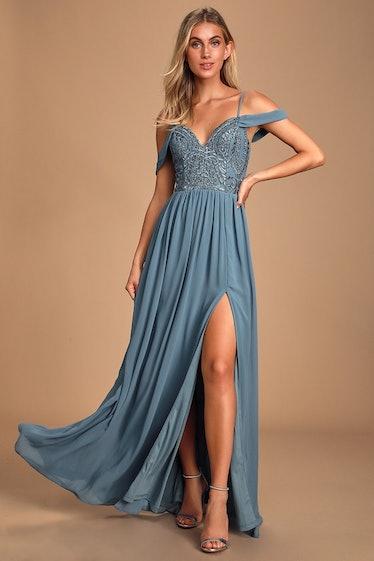 Dancing Darling Slate Blue Off-the-Shoulder Maxi Dress