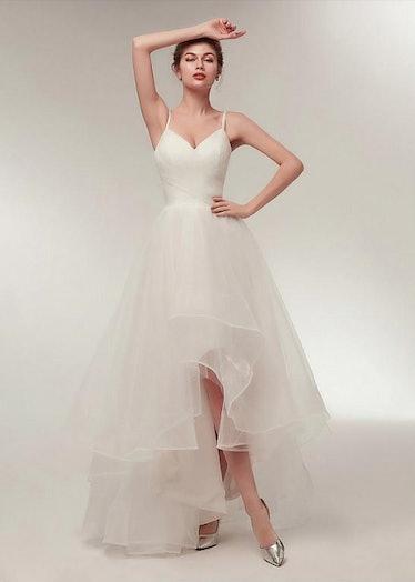 Tulle Spaghetti Straps Neckline Hi-lo A-line Wedding Dress With Ruffles