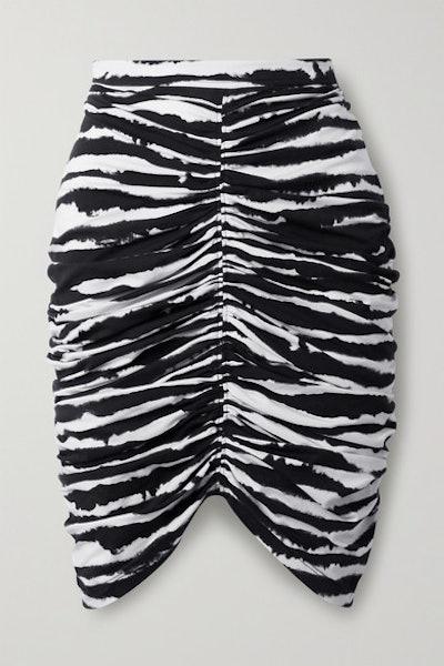 Ruched Zebra-Print Stretch-Cotton Mini Skirt