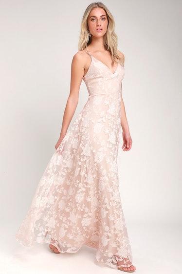 Everlasting Romance Blush Floral Maxi Dress