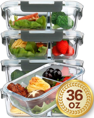 M MCIRCO Glass Meal Prep Containers (5-Pack)