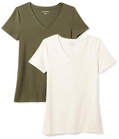 Amazon Essentials Women's V-Neck T-Shirt (2 pack)