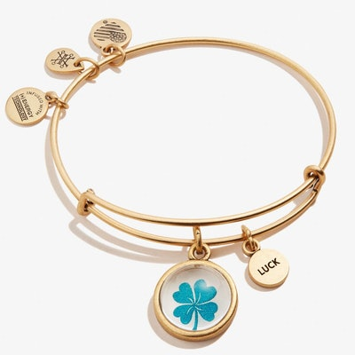 Alex and Ani Four Leaf Clover and Luck Mantra Duo Charm Bangle