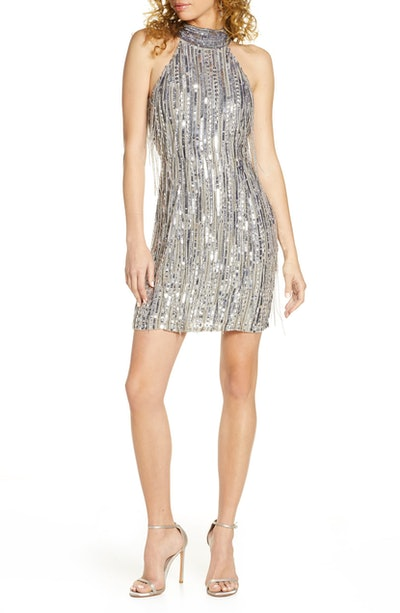 ONE33 SOCIAL Sequin Fringe Halter Minidress