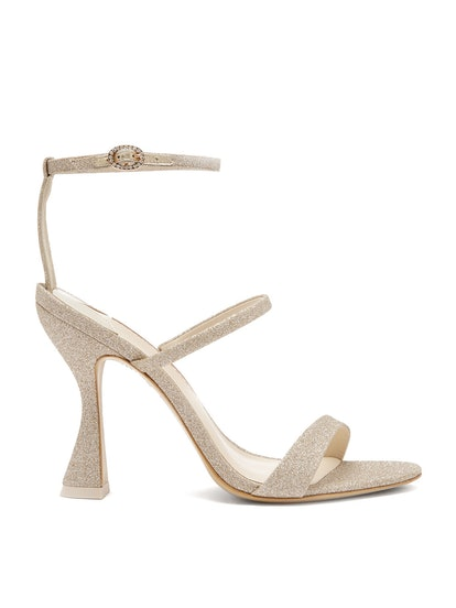 Rosalind Hourglass Glittered-Leather Sandals