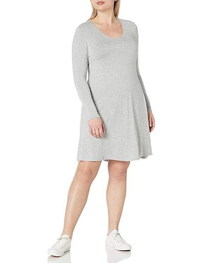 Daily Ritual Women's Plus Size Jersey Long-Sleeve V-Neck Dress