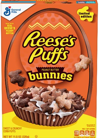 A bright yellow box of Reese's Peanut Butter Bunnies cereal.
