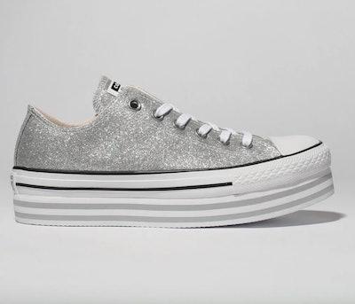 Converse Silver All Star Lift Glitter Trainers