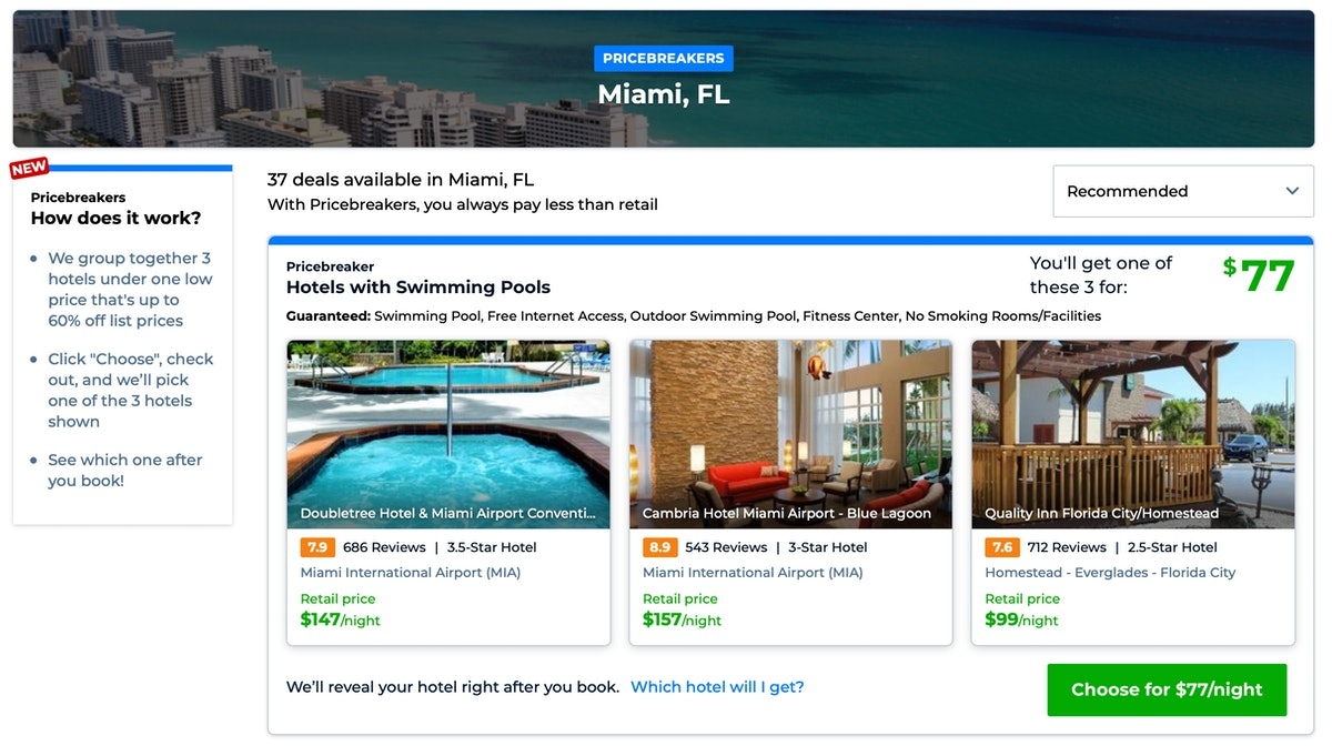 Priceline's Pricebreakers feature will show you options for cheap, high-rated hotels in spring break...