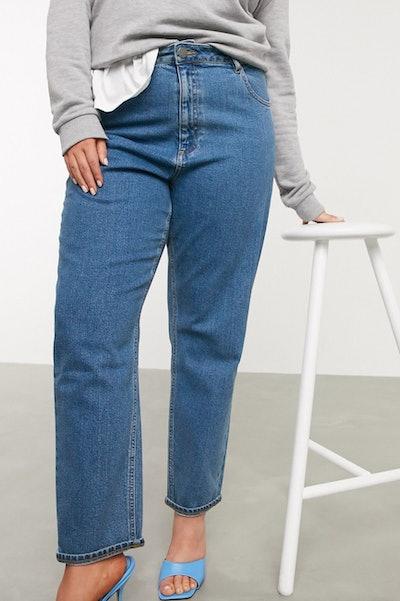 Curve High Waist Slim Mom Jeans in Dark Wash
