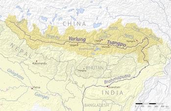 map showing Yalu Zangbu River in China