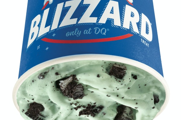 Dairy Queen's St. Patrick's Day 2020 Blizzard includes chunks of Oreo and minty soft serve.