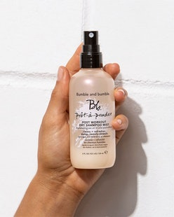 Bumble And Bumble's Pret-a-Powder Post Workout Dry Shampoo Mist helps to rid of sweat after working ...