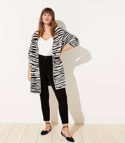 Plus Zebra Print Open Cardigan