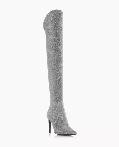 Sloanne Silver Stiletto Over The Knee Boot