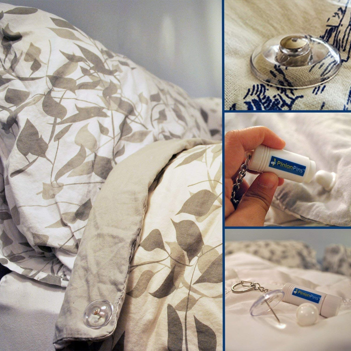 Pinion Pins Clear Magnetic Duvet Clips (8-Pack)