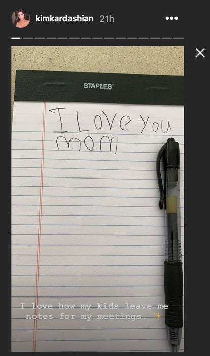 Kim Kardashian said in an Instagram post that she loves when her kids leave her notes.