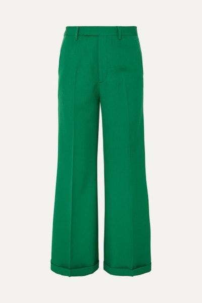 Wool-Gabardine Wide-Leg Pants