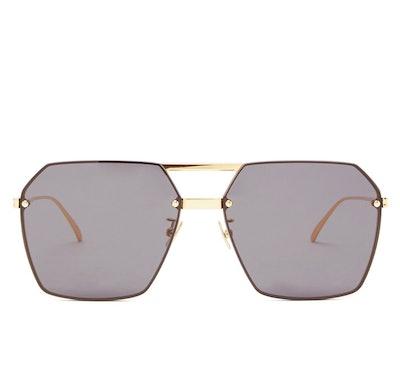 Angular Aviator Metal Sunglasses