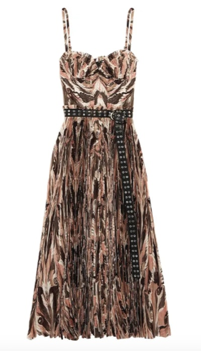 Belted printed plissé silk crepe de chine midi dress