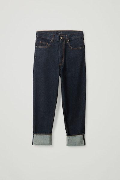 Straight Organic Cotton Turn-Up Jeans